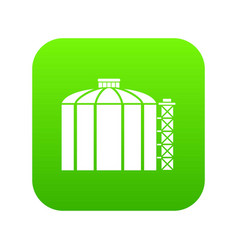 Oil storage tank icon green vector