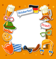 oktoberfest frame with photo booth stickers vector image