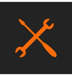 Orange crossed tools on black vector image