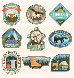outdoor adventure patch with quotes vector image