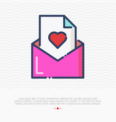 pink envelope with heart thin line icon vector image