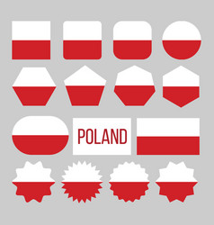 poland flag collection figure icons set vector image