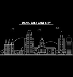 salt lake city silhouette skyline usa - salt lake vector image