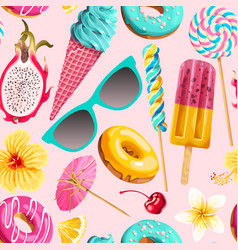 seamless pattern of vivid summer sweets vector image