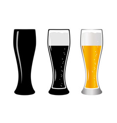 set glass beer vector image