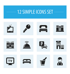 Set of 12 editable motel icons includes symbols vector
