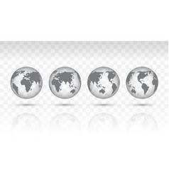 set transparent icon globes earth vector image