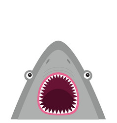 Shark head face with big open mouth and sharp vector