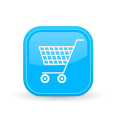 shopping cart icon blue square shiny button vector image