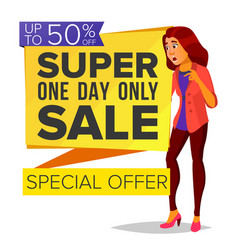 shopping woman big discount super sale vector image