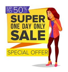 shopping woman big discount super sale vector image