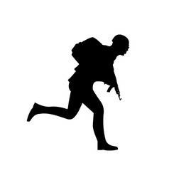 silhouette a running soldier vector image