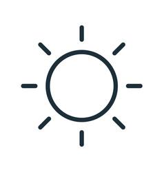 simple line art icon sun with bright sunbeams vector image