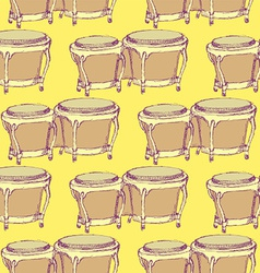 Sketch bongos musical instrument in vintage style vector image