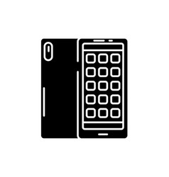 smartphone applications black icon sign on vector image