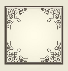 square frame with ornate curly corners vector image