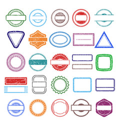 stamp rubber frames round and square scratching vector image