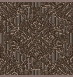 striped brown textured 3d seamless pattern vector image