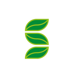 stylized letter s eco logo from three green vector image