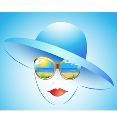 summer girl in a hat vector image