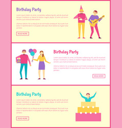 three birthday party cards vector image