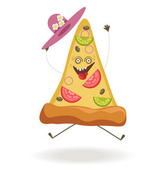 Triangular pizza slice with ridiculous face and vector
