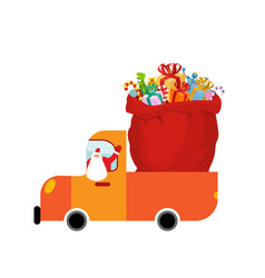 truck santa and red sack of gifts christmas car vector image