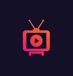 tv with antenna icon logo vector image
