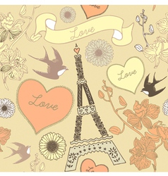 Vintage Love Paris Pattern vector