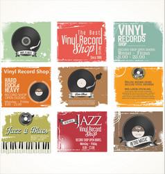 vinyl record shop retro grunge banner collection 2 vector image