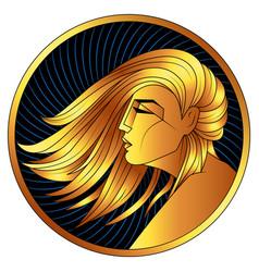 Virgo golden zodiac sign horoscope symbol vector