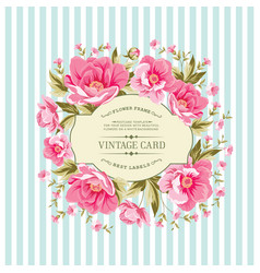 Wedding card with rose flowers vector
