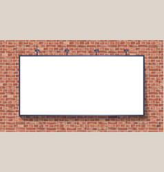 White billboard mockup on brick wall vector