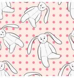 White bunnies toys childish seamless pattern vector