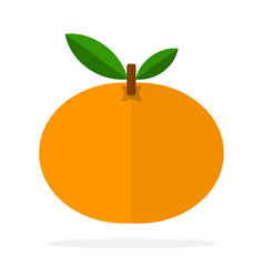 whole mandarin with a leaf flat isolated vector image