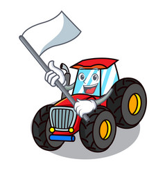 With flag tractor mascot cartoon style vector