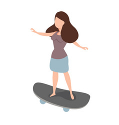 woman skateboarder ride a skate vector image