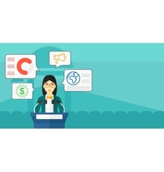 Woman speaking on podium vector image