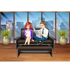 Business people hanging out at the living room vector image vector image