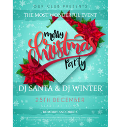 christmas party poster with vector image