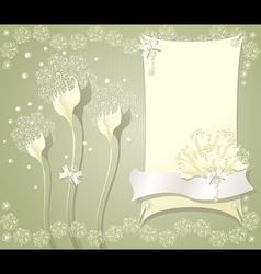 Elegant floral background with frame flowers bows vector image vector image