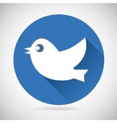 Round Blue Social Media Web or Internet Icon Bird vector image