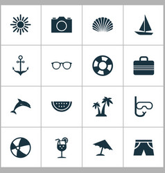 summer icons set collection of trees smelting vector image vector image