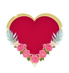 Valentines Day hearts and pink roses background vector image