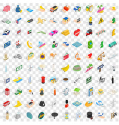 100 auto icons set isometric 3d style vector image