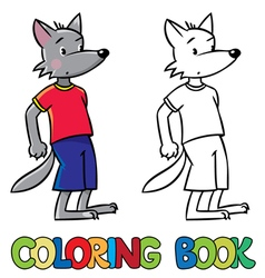 Little funny wolf Coloring book vector image vector image