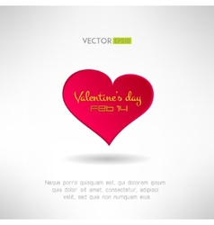 Red heart icon with valentines text and date on it vector image vector image