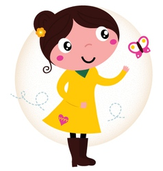 Retro spring cute yellow Girl with butterfly vector image vector image