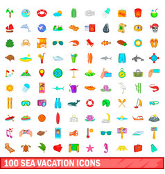 100 sea vacation icons set cartoon style vector image