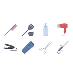hairdresser and tools icons in set collection for vector image